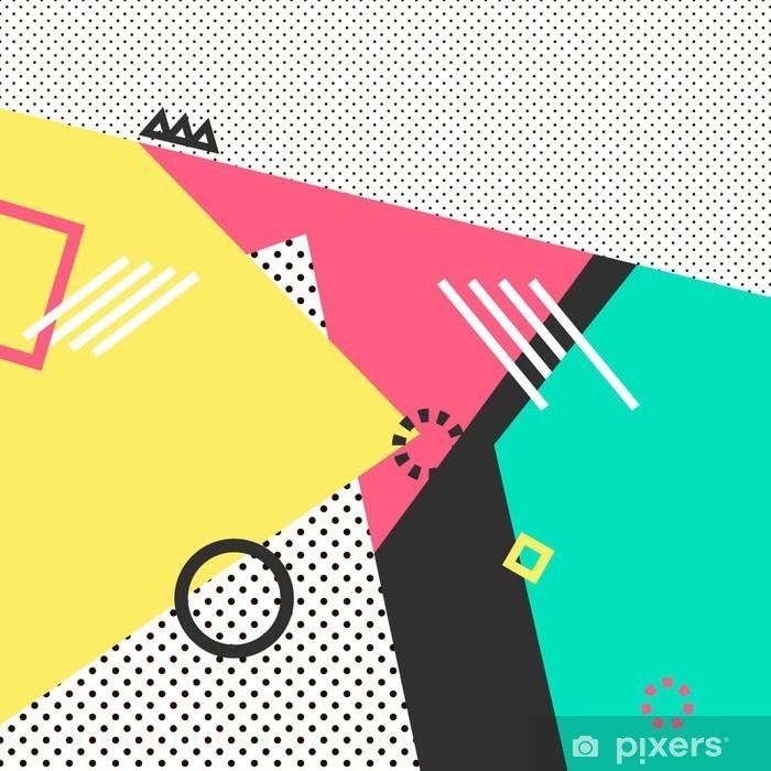 Fototapeta winylowa Trendy karty geometryczne elementy Memphis. Retro styl tekstura, wzór i elementy geometryczne. Nowoczesne abstrakcyjne projekt plakatu, okładka, projekt karty. - Zasoby graficzne