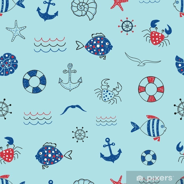 Cute marine life seamless pattern. Doodle vector sea background with fish, crab, starfish, anchor, seagull. Suitable for wallpaper, wrapping paper, web page background, summer cards design. Pixerstick Sticker - Graphic Resources