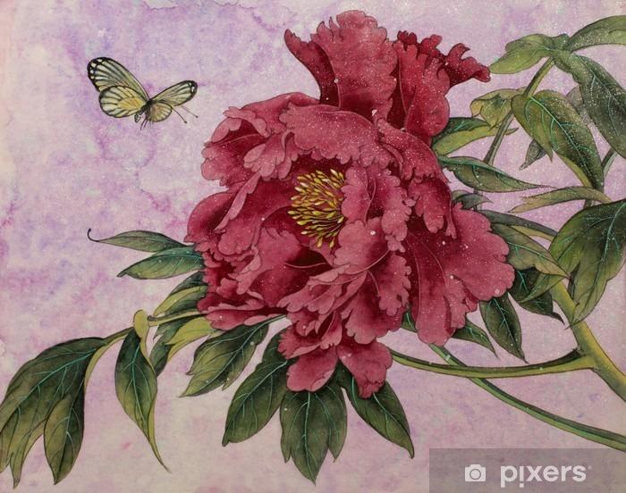Fototapeta winylowa Piwonia delikatna i motyl - Rośliny i kwiaty