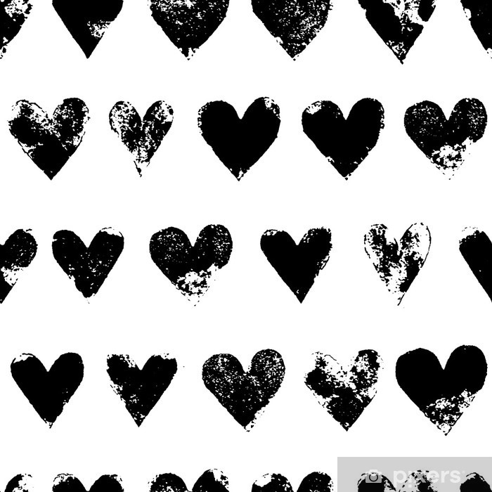 Black and white grunge hearts print seamless pattern, vector Poster - Graphic Resources