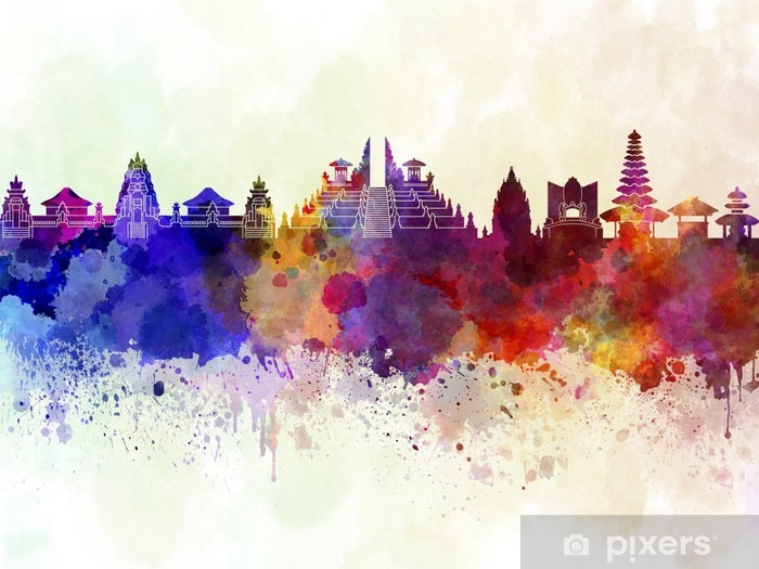 Bali skyline in watercolor background Vinyl Wall Mural - Landscapes