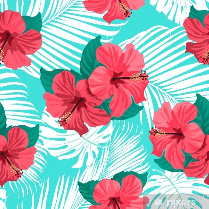 Poster Fleurs tropicales et feuilles de palmiers sur fond. sans couture. modèle vectoriel - Plantes et fleurs