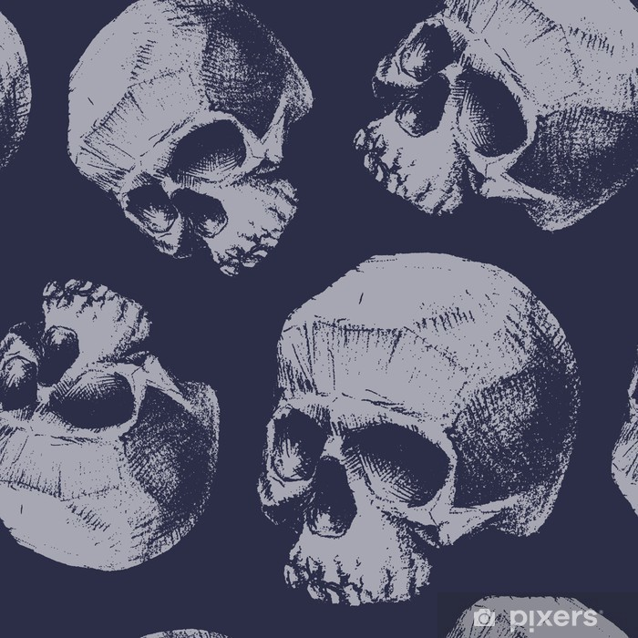 Grunge seamless pattern with skulls. Poster - Graphic Resources