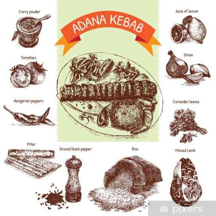 Plakat Ilustracji wektorowych z Adana kebab składników - Jedzenie