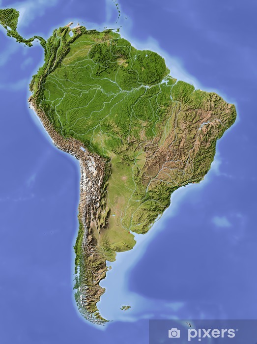 Fotomural Estándar América del Sur, mapa de relieve sombreado, color de la vegetación - América