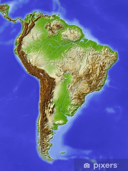Fotomural Estándar América del Sur, mapa de relieve sombreado, coloreado para la elevación - América