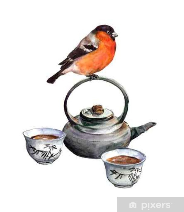Fototapeta Gil Ptak I Zestaw Herbaty Akwarela Pixers żyjemy By