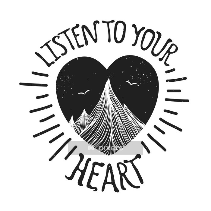 Vector illustration with mountains inside the heart Wall Decal - Landscapes