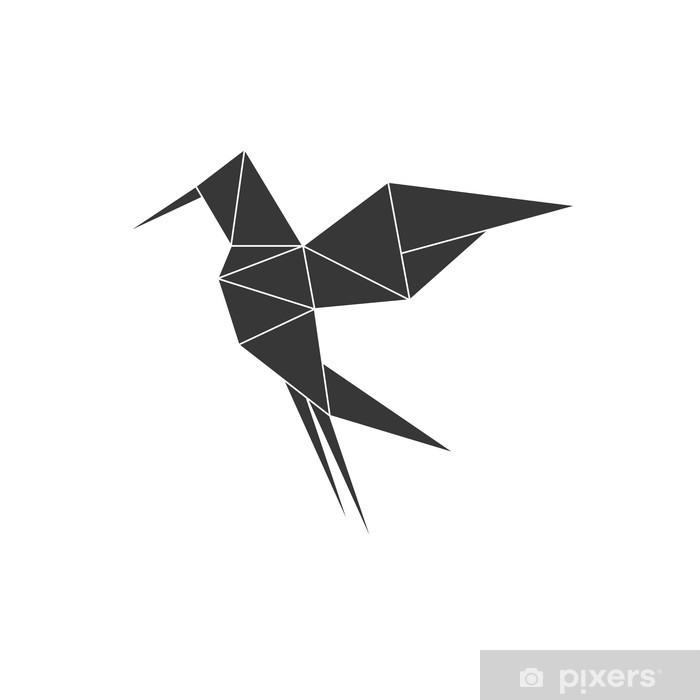 Sticker Pixerstick Origami notion représentée par l'icône d'oiseau. isolé et plat illustration - Canvas Prints Sold