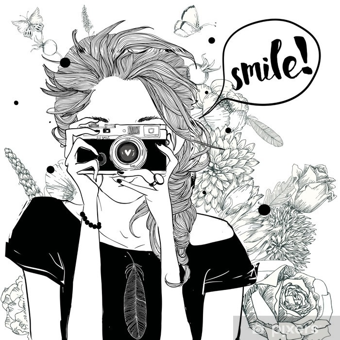 Pixerstick Sticker Cute cartoon meisje - Levensstijl