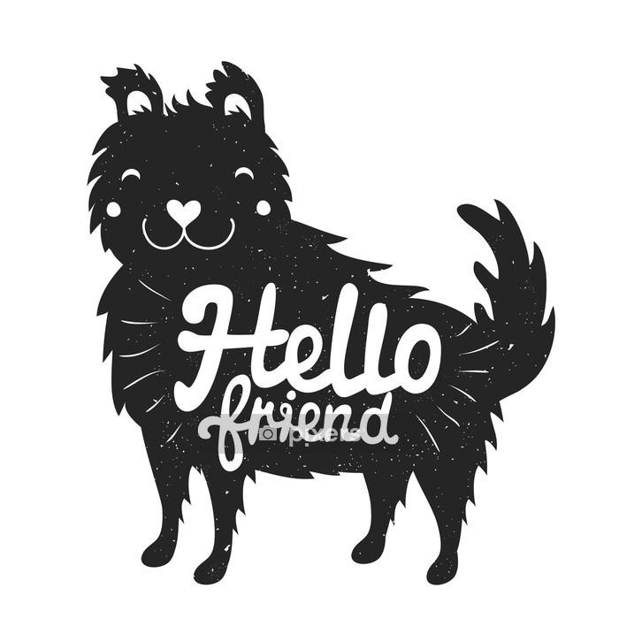 Vinilo para Pared Sonriente cara del perro y el texto de letras - hola amigo - Animales
