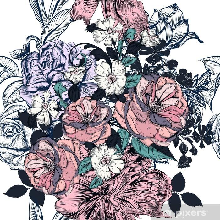 Naklejka Pixerstick Piękny szwu z ręcznie rysowane róż i kwitnie - Rośliny i kwiaty