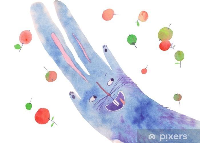 Fototapeta winylowa Akwarela królik jabłko - Zwierzęta