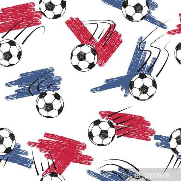 Vinilo Balones de fútbol patrón transparente con bolas y colores de la  bandera. Vector de fondo de Campeonato de fútbol. Pixerstick 4fb95d84fc500