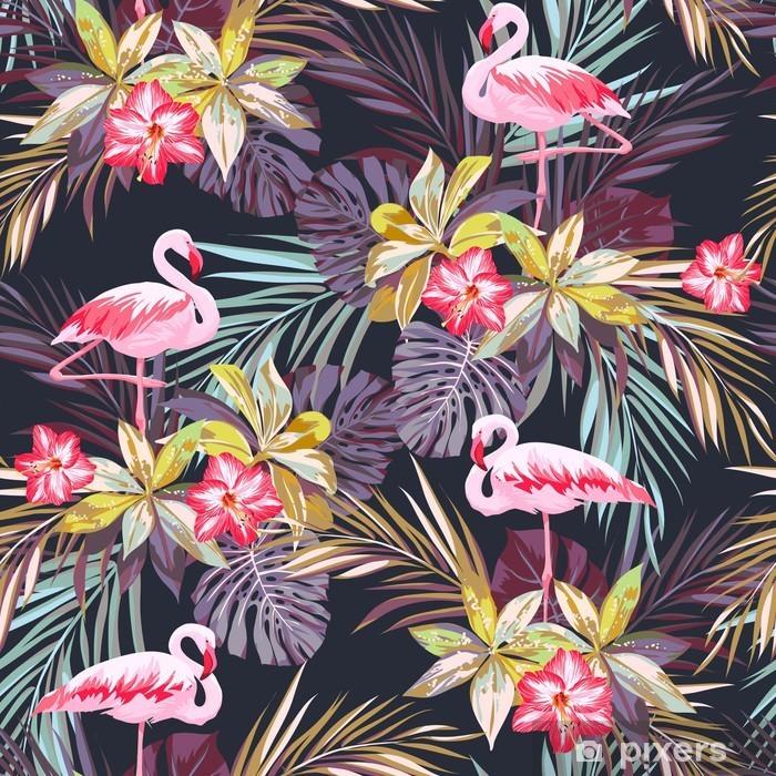 Fototapeta winylowa Tropikalne lato szwu z ptaków Flamingo i egzotycznych roślin -