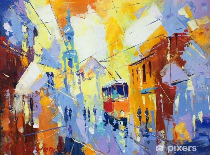Vinyl Fotobehang Een origineel olieverfschilderij op canvaskubismismestijl, parto van de inzameling van kubismelandschappen, jut en gewone dag in de stad, stedelijk, stadsleven ,. - Landschappen