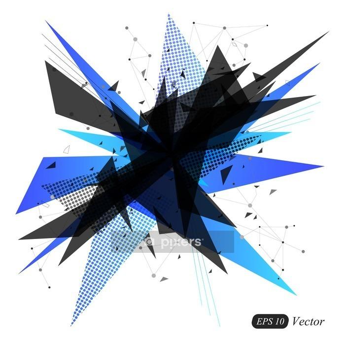 Vinilo para Pared Triángulo azul geométrica moderna de vectores de fondo abstracto. explosión abstracta. Ilustración del vector. - Recursos gráficos