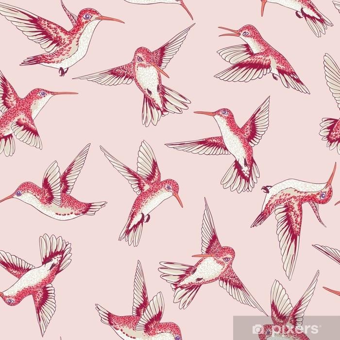Fotomural Estándar Vector transparente vuelo pequeño patrón conversacional de aves del paraíso, primavera verano, suave colibrí romántico, colibri fondo allover print design - Animales