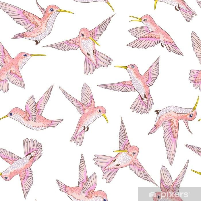 Alfombrilla de baño Vector transparente vuelo pequeño patrón conversacional de aves del paraíso, primavera verano, suave colibrí romántico, colibri fondo allover print design - Animales