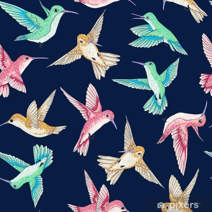 Poszewka na poduszkę Wektor bezszwowych latające ptaszki raju konwersacji wzór wielu kolorów, czas wiosna, delikatny romantyczny koliber Colibri tle ALLOVER projektowania druku - Zwierzęta