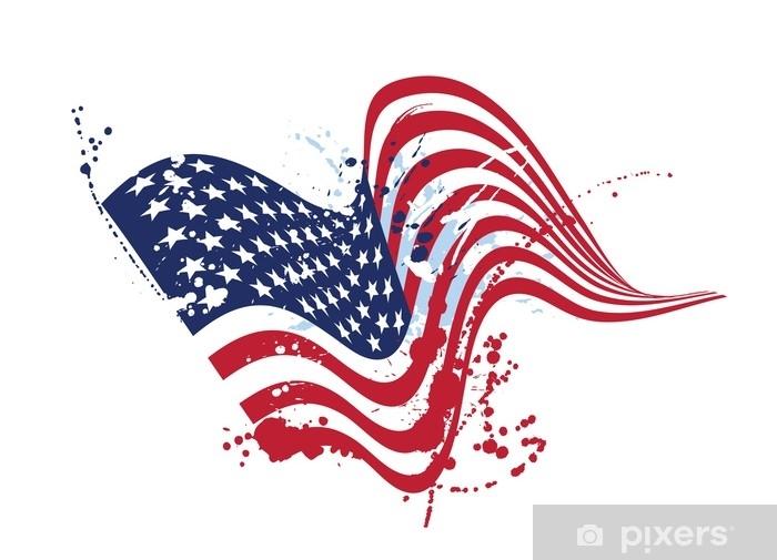 Koc pluszowy Grunge amerykańską flagę usa flaga na białym, teksturowane wzornictwo - Zasoby graficzne