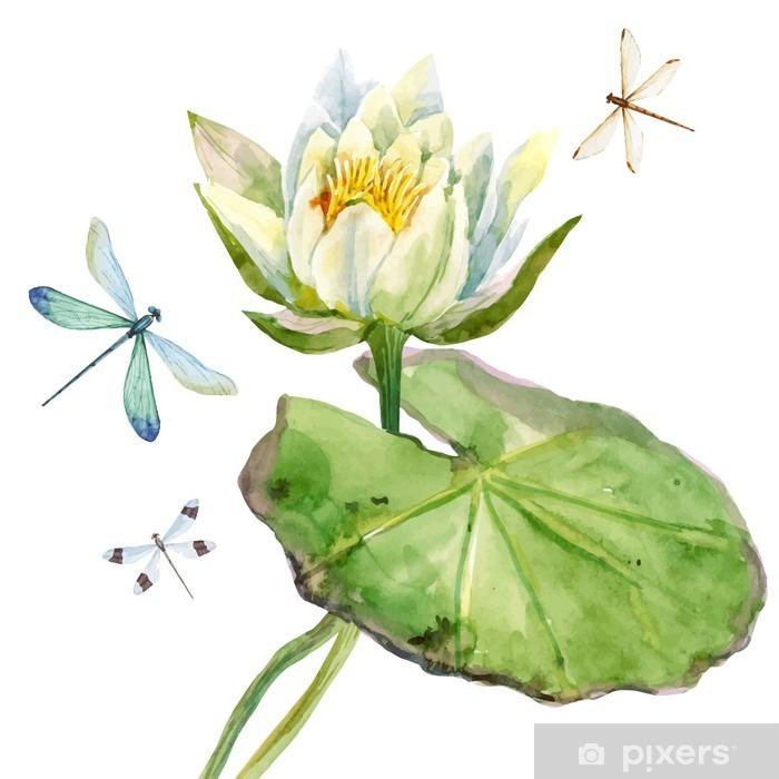Papier peint vinyle Aquarelle fleur de lotus - Plantes et fleurs