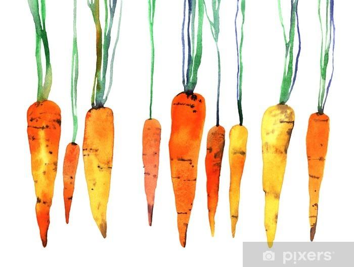 Vesiväri käsinmaalattu porkkana Pixerstick tarra - Ruoka
