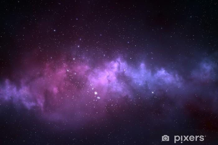 Vinyl Fotobehang Nachtelijke hemel - Heelal gevuld met sterren, nevel en melkweg - Wetenschap