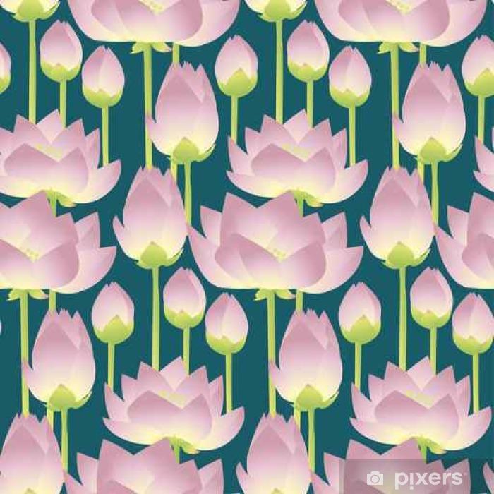 Naklejka Pixerstick Różowe lilie lotosowe dekoracyjne kwiatowy wzór bez szwu. Wektor chory - Rośliny i kwiaty