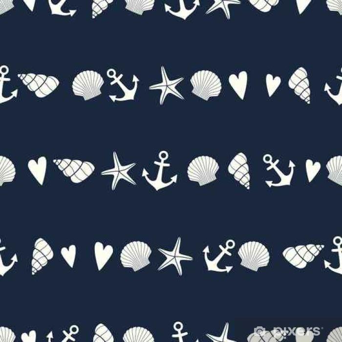 Fototapeta zmywalna Żeglarskie szwu z rozgwiazda, powłoki i kotwicy. Śliczne tło życia morskiego. marynistycznym. Projektowanie dla tkanin, tkaniny, poduszki i wystroju wnętrz. - Krajobrazy