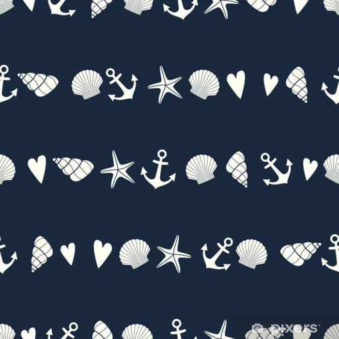 Nautical seamless pattern with starfish, shell and anchor. Cute marine life background. Sea theme. Design for fabric, textile, pillow and decor. Washable Wall Mural - Landscapes