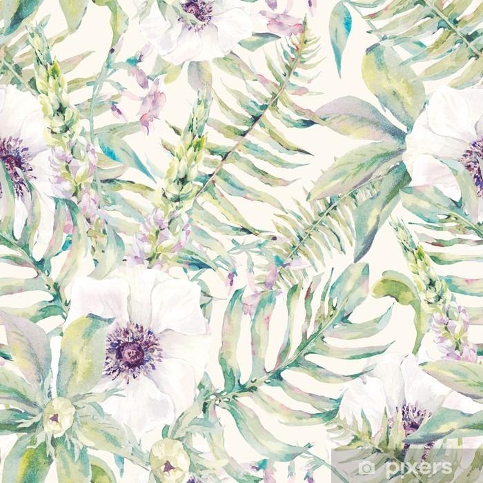 Mural de Parede em Vinil Folha Watercolor padrão sem emenda com samambaias e flores - Plantas e Flores