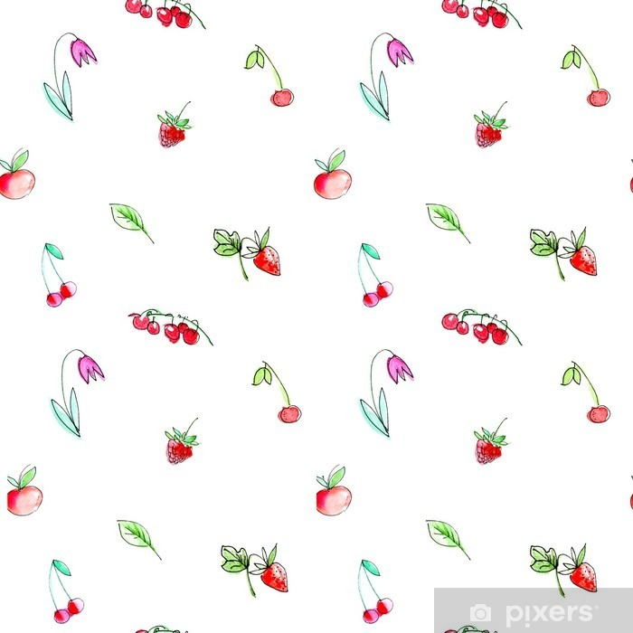 Seamless pattern with garden fruits and berries.Cherry, raspberry, currant, strawberry, apple and flower. Watercolor hand drawn illustration.White background. Self-Adhesive Wall Mural - Graphic Resources