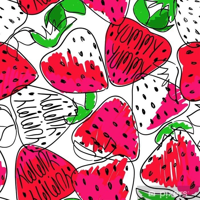 Sticker Pixerstick Colorful Seamless Croquis des fraises. - Nourriture