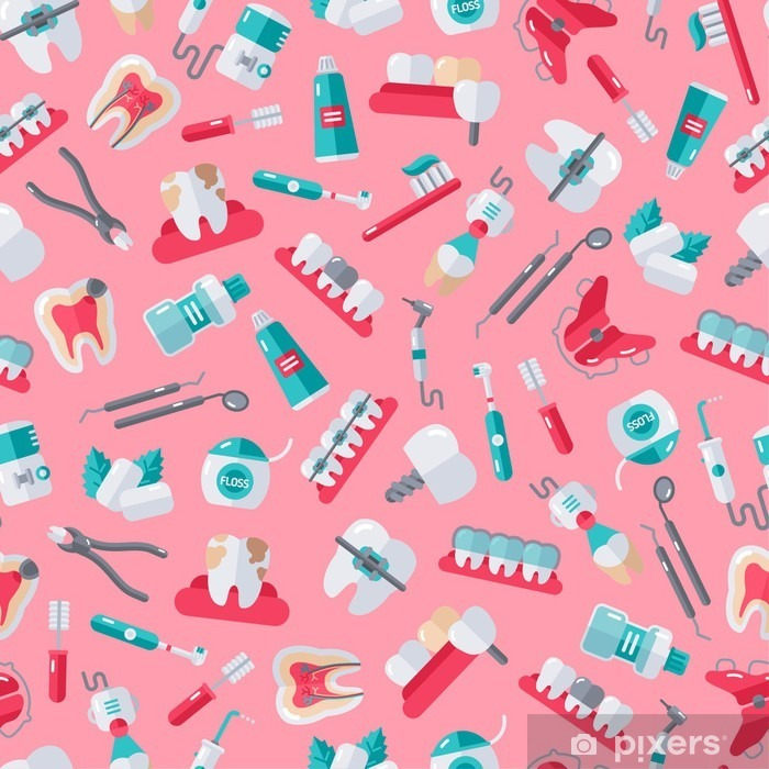 Fototapeta winylowa Jednolite Dentysta Wzór na różowym tle - Nauka