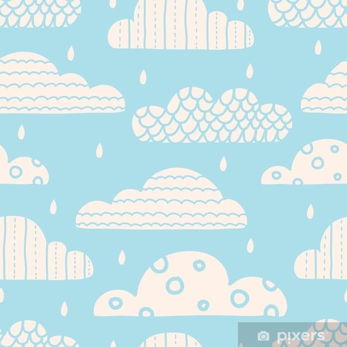 Vinyl-Fototapete Nette Wolken. Vektor nahtlose Muster. - Für Kinderzimmer
