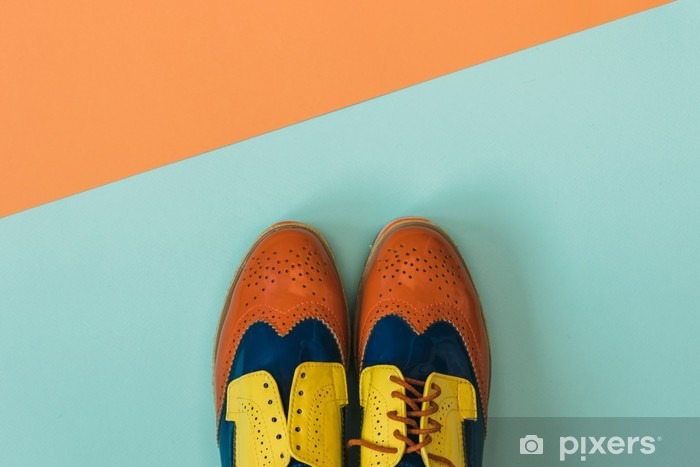 Tasainen lay fashion set: värillinen vintage kengät värillinen tausta. ylhäältä. Pixerstick tarra - Elämäntavat
