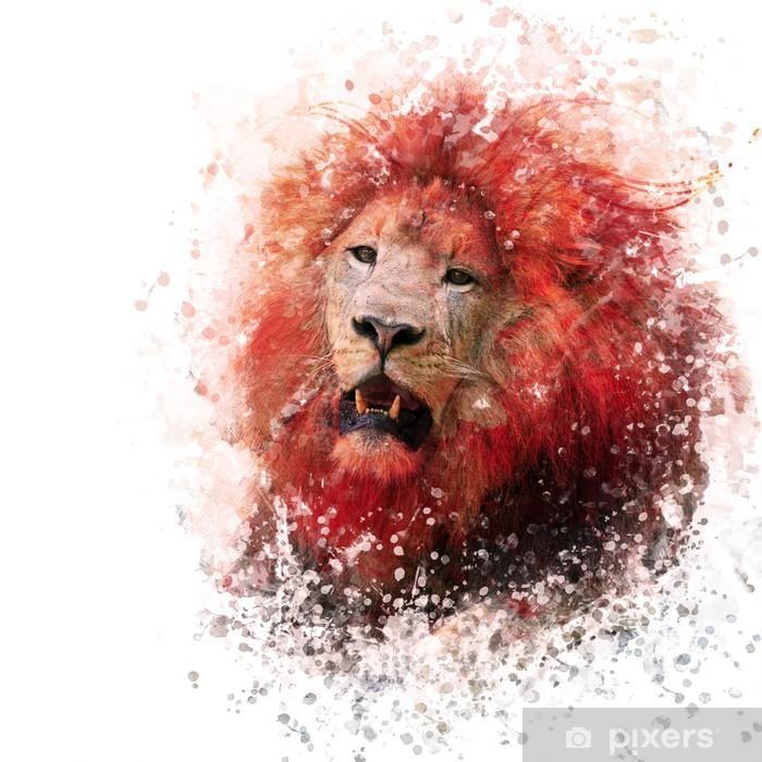 Vinilo Pixerstick Acuarela cabeza de león - Animales