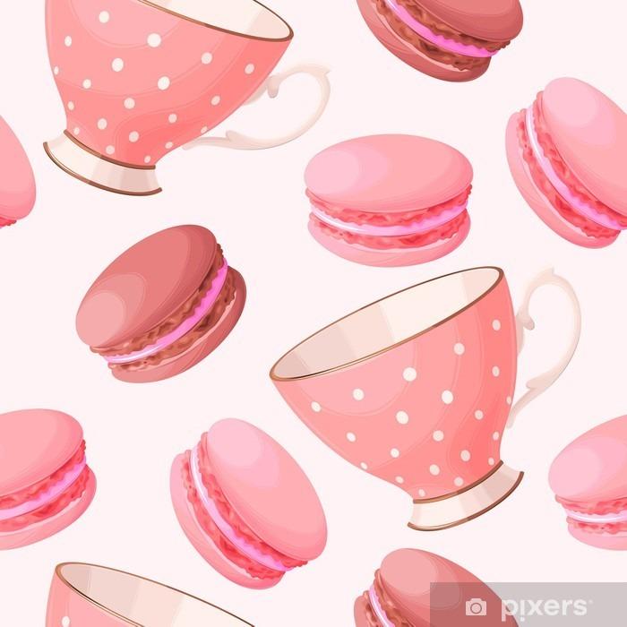 Zelfklevend Fotobehang Naadloos theekopjes en macarons - Eten