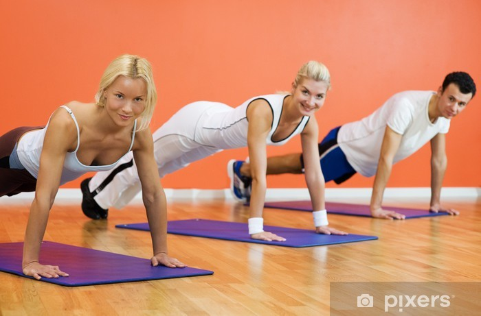 Group of people completing push ups Sticker - Pixerstick