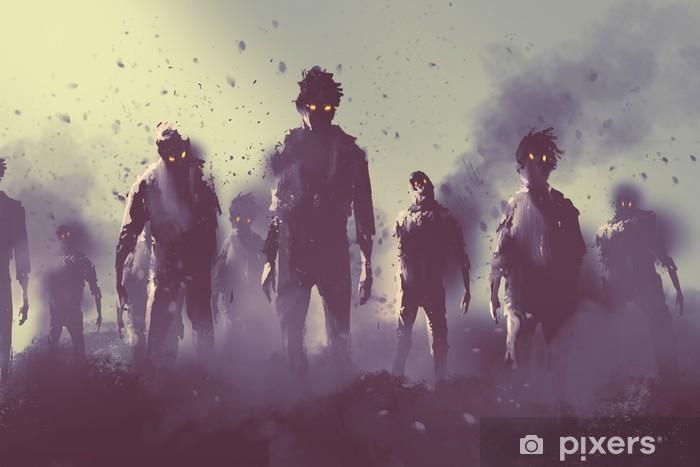 Naklejka Pixerstick Zombie tłum chodzenie w nocy, koncepcji halloween, ilustracja malarstwo - Hobby i rozrywka