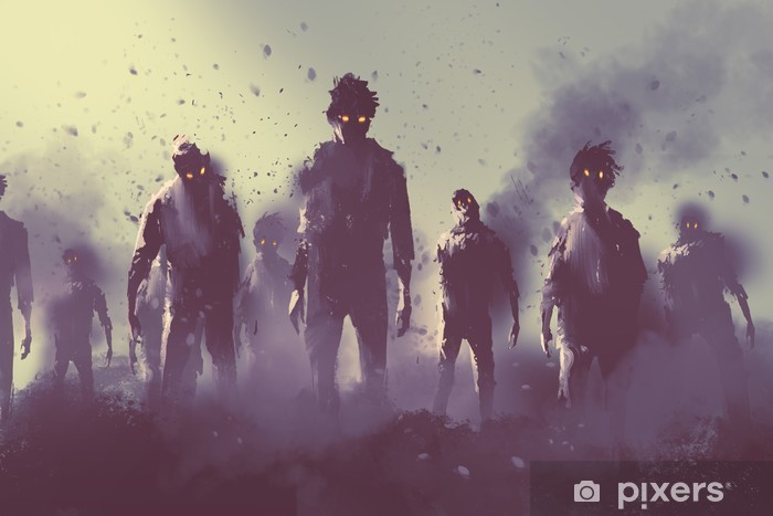 zombie crowd walking at night,halloween concept,illustration painting Pixerstick Sticker - Hobbies and Leisure