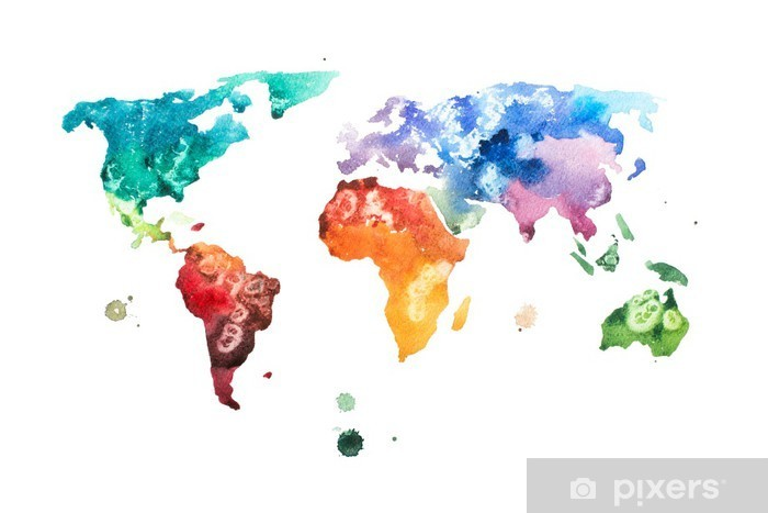 Hand drawn watercolor world map aquarelle illustration. Pixerstick Sticker - Hobbies and Leisure