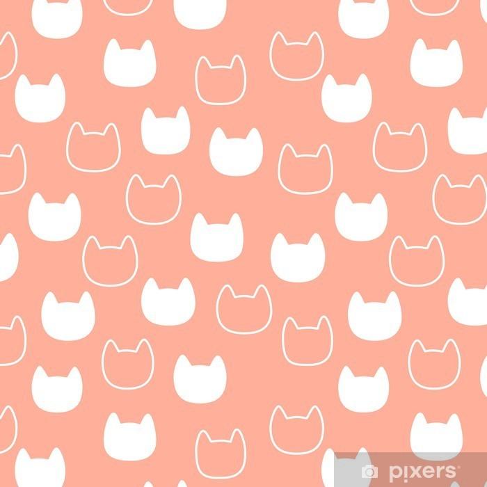 Vinyl Fotobehang Patroon met kat hoofd silhouet op roze achtergrond - Kinderkamer