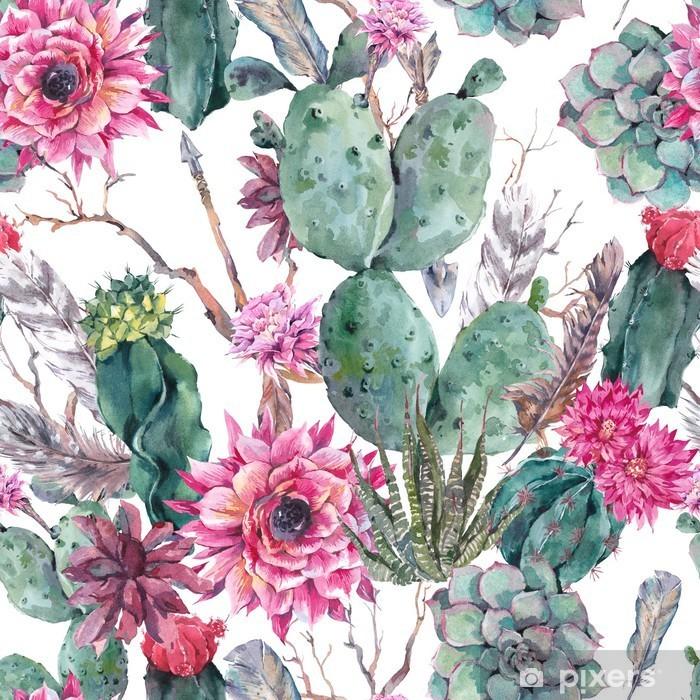 Vinilo Pixerstick Modelo inconsútil de la acuarela de cactus en el estilo boho. - Para salón de bodas