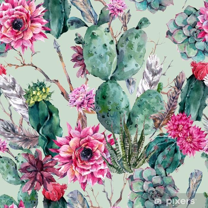 Carta da Parati in Vinile Cactus acquerello seamless in stile boho. - Piante & Fiori