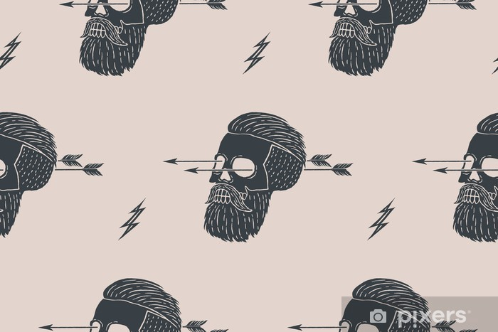 Seamless pattern background of vintage skull hipster with arrow. Graphic design for wrapping paper and fabric texture of shirt. Vector Illustration Pixerstick Sticker - Hobbies and Leisure