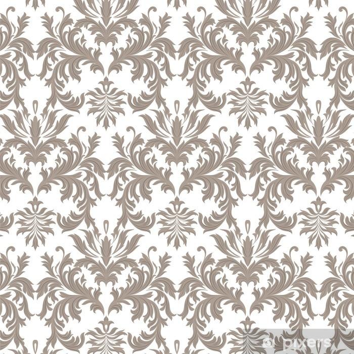 Naklejka Pixerstick Wektor Vintage barokowy kwiatowy wzór adamaszku. Luksusowe Klasyczne ornament Royal Victorian tekstury tapety, tkaniny, włókna. brązowy kolor - Zasoby graficzne