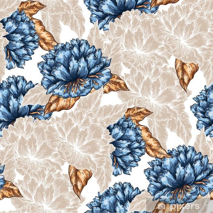 Pixerstick-klistremerke Sømløs grafisk blomstermønster -