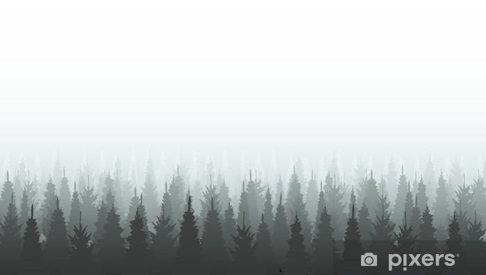 Autocolante Pixerstick Template silhueta floresta de coníferas. ilustração das madeiras - Paisagens